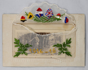 WW1 silk-embroidered postcard '1914-16' with pocket card.