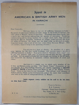 WW2 1943 invitation British & American troops Charity Show India