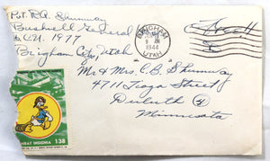 WW2 1944 US military letter with Disney patriotic stamp, Brigham UT