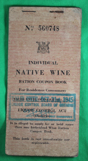 WW2 Canadian Native Wine Ration book 1944