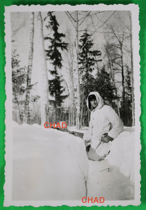 WW2 German soldier in winter camouflage (Russia?)
