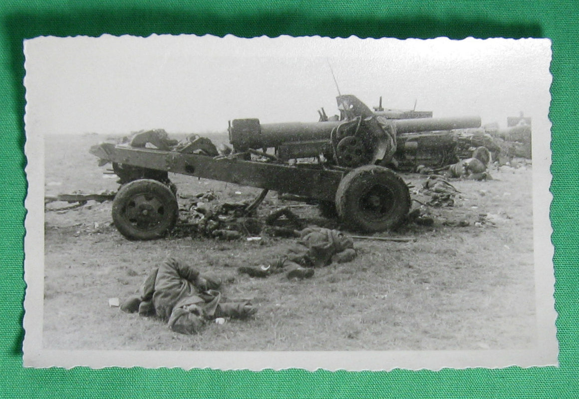 WW2 Photo of destroyed Russian artillery and dead soldiers - Operation Barbarossa 1941