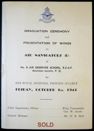 WW2 RCAF  Air Navigator Graduation Ceremony programme - 1943