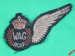 WW2 RCAF Wireless Operator Air Gunner (WAG) wing badge