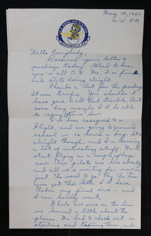 WW2 letter with Disney letterhead US Naval Air Station Jacksonville