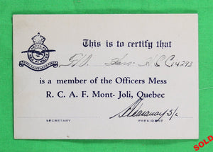 WW2 member card for RCAF Officer's Mess - Mont Joli Qc