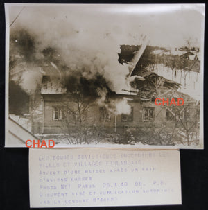WW2 photo Finnish house on fire after Russian bombing 1940