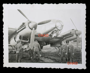 WW2 photo German Heinkel He 111 at airstrip