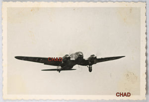 WW2 photo German Heinkel bomber with landing gear down