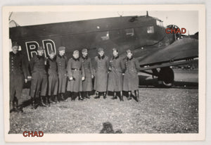 WW2 photo German soldiers in front of Junkers JU52 transport plane