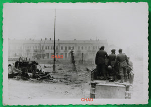 WW2 photo German troops entering captured city Russia 1941