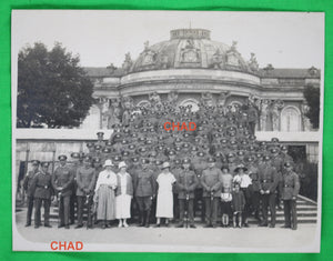 WW2 photo postcard large number German officers in front of Sanssouci Palace in Potsdam
