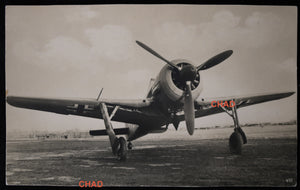 WW2 photo postcard of German Fw 190 fighter plane on tarmac