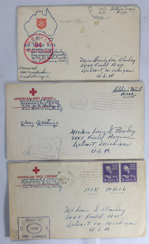 WW2 set of three letters 32nd Signals Staff Sgt. 1942-44 (War in Pacific)