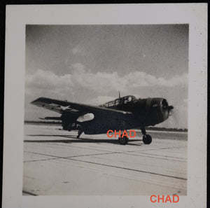 WW2 two photos of American fighter plane taxing on tarmac