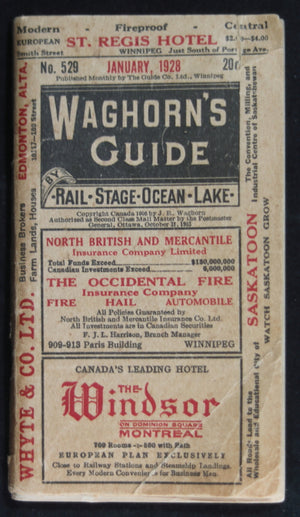 Waghorn's Guide 1928, Rail Timetables and Tourism information