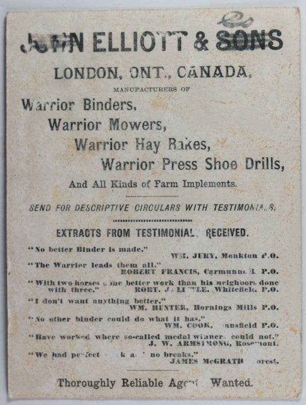 Warrior farm products trade card - Canada 1880s