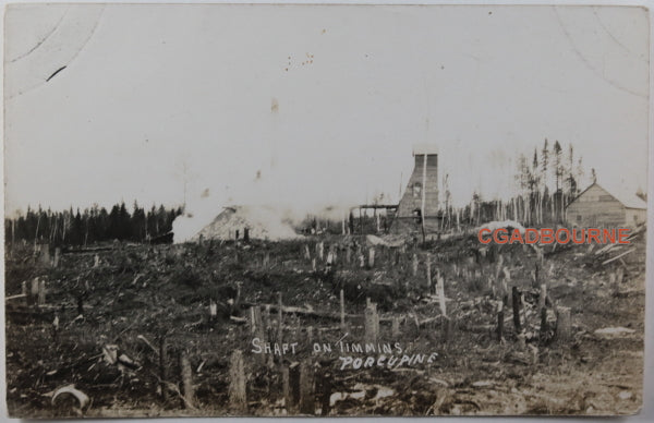 c.1910s photo postcard of Porcupine area mine shaft in cleared forest