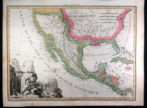 c. 1819 Tardieu map of Mexico, Western USA and Caribbean