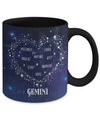 Gemini Zodiac Sign Coffee Mug Tea Cup Watercolor Constellation (Black)