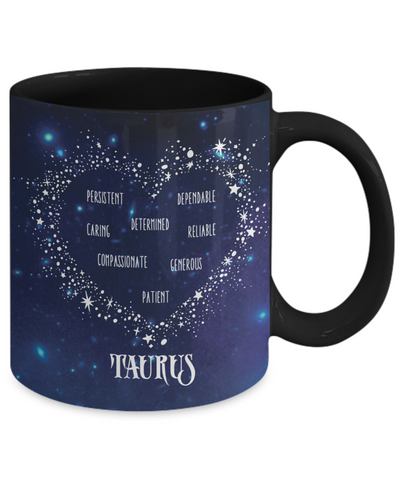 Taurus Zodiac Sign Black Coffee Mug