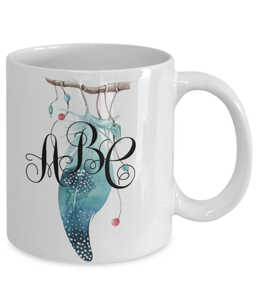 Feather Monogrammed Coffee Mug Tea Cup Boho Style Gifts