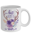Best Auntie Ever Coffee Mug Tea Cup Boho Style Flowers Antlers