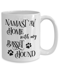 Namast'ay Home With My Basset Hound Funny Coffee Mug 15oz back