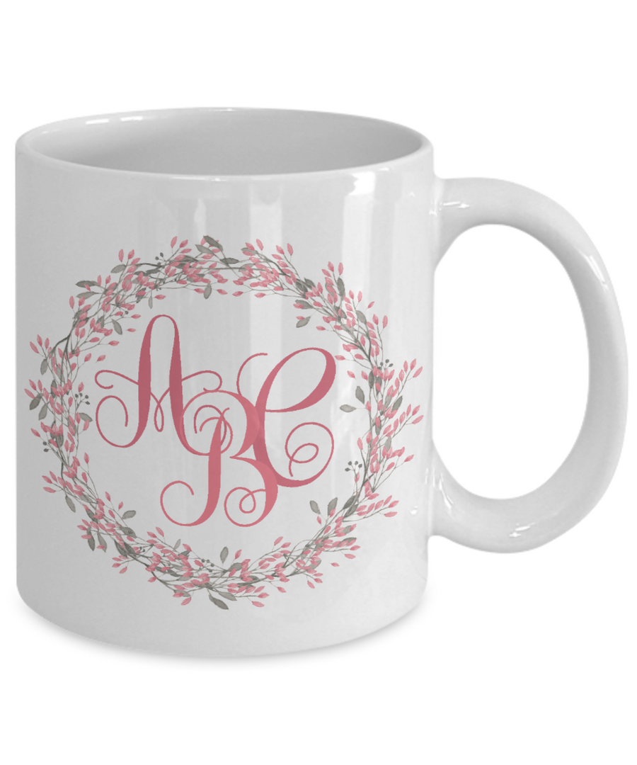 Monogrammed Wreath Coffee Mug Tea Cup | Custom Gift Idea for Any Occasion