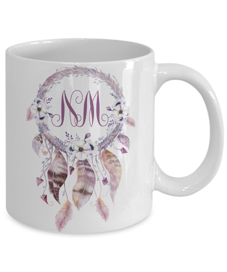 Dreamcatcher Custom Monogram Coffee Mug Tea Cup Great Gift Idea Boho Style