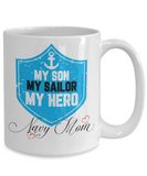 navy mom coffee mug