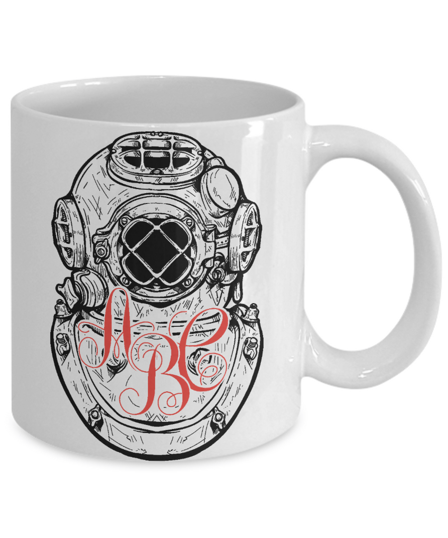 Diver Personalized Monogrammed Coffee Mug Tea Cup Gift Idea for Scuba Divers