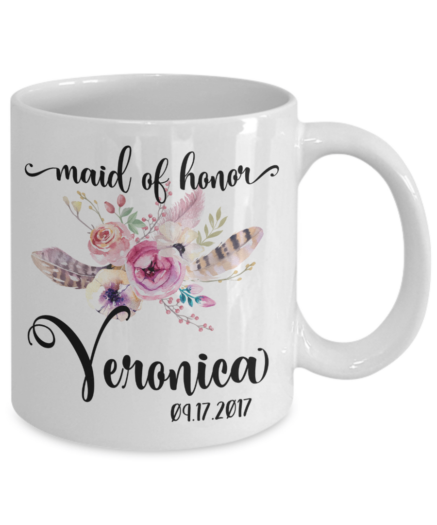 Maid of Honor Custom Coffee Mug | Personalized/Personalizable Gifts for Maid of Honor