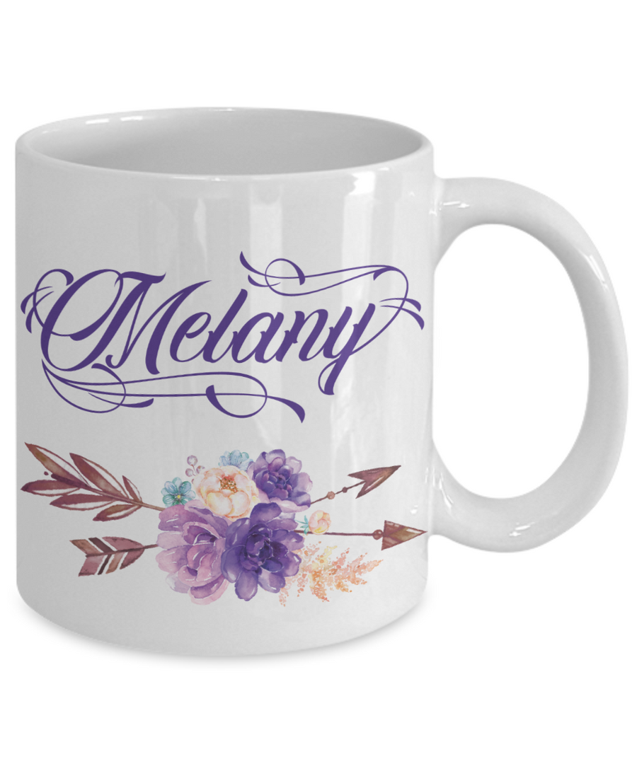 Custom Name Coffee Mug Tea Cup Boho Style Flowers/Arrows/Purple Color