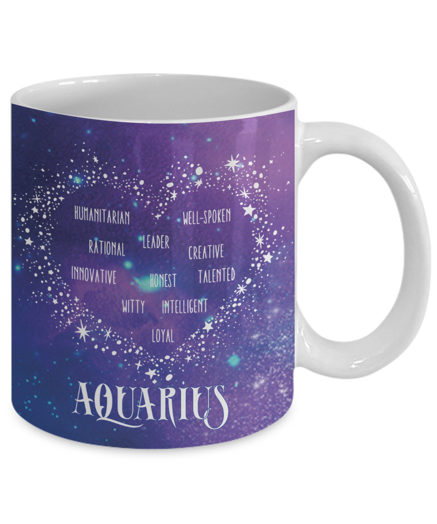 Aquarius Zodiac Sign Coffee Mug | Horoscope, Astrology, Constellation | Unique Gift Idea | Two Sided