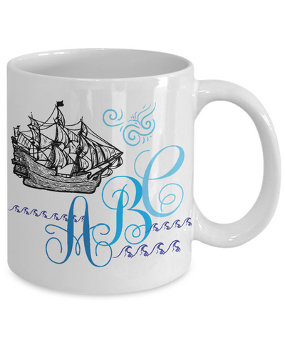 Personalized Monogrammed Captain/Sailor Tea Cup