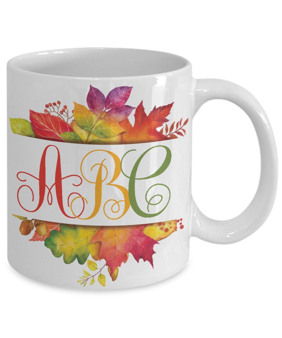 Monogrammed Autumn Fall Leaves Coffee Mug Tea Cup | Gift Idea for Any Occasion