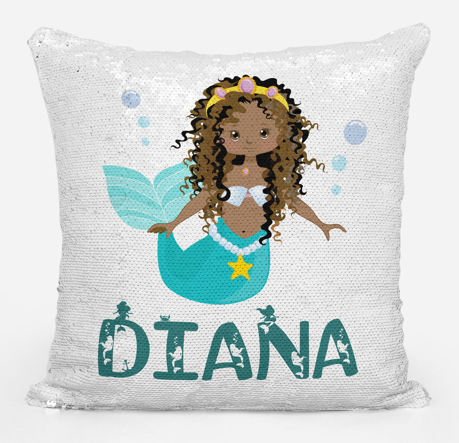 Mermaid Lover Gifts, Personalized African-American Mermaid Gift, Gifts for Girls, Personalized Magic Flip Sequin Pillow, Mermaid Pillow Cover, Personalized Sequin Pillow, Unique Birthday Gifts
