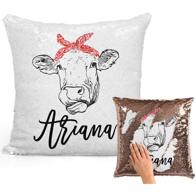 Cow Lover Gifts, Personalized Cow Gifts, Cow with Bandana, Personalized Magic Flip Sequin Pillow, Mermaid Pillow Cover, Personalized Sequin Pillow, Unique Birthday Gifts, Gifts for Cow Farmer
