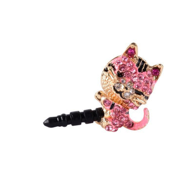 Crystal Kitty Cat Phone Tablet Dust Plug Pink