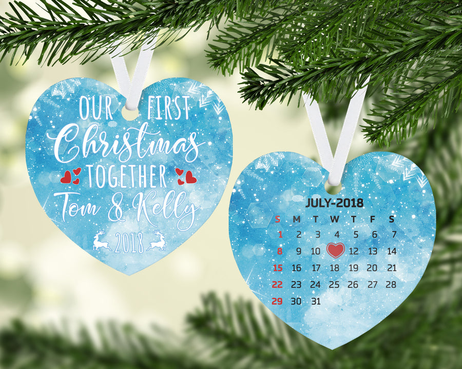 Double Sided Our First Christmas Together 2018 Couple First Date Calendar Two Sided Personalized Customized Ceramic Ornament