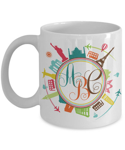 Personalized Monogram Coffee Mug | Tea Cup | Great Gift Idea for a Travel Lover/Traveler