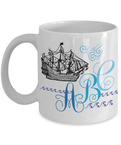 Personalized Monogrammed Captain/Sailor Coffee Mug