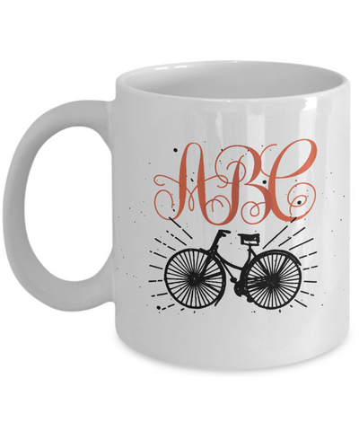 Bicycle Lover Coffee Mug Tea Cup | Personalized Monogram | Gift Idea