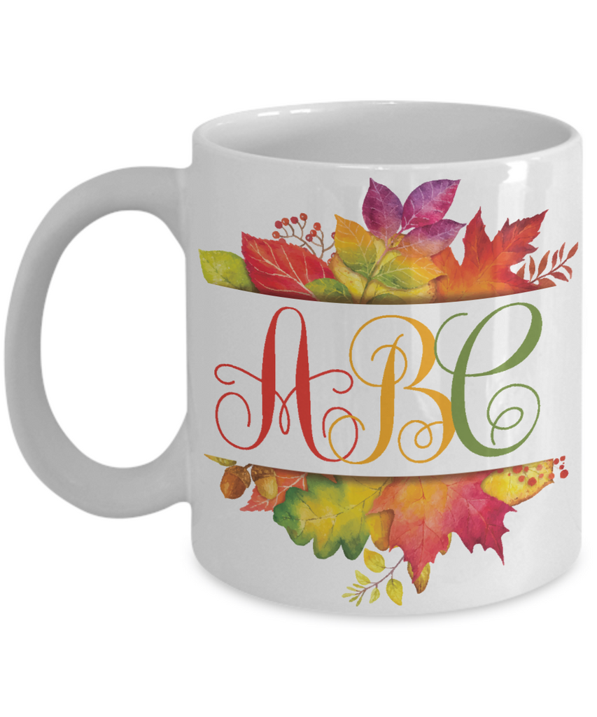 Monogrammed Autumn Leaves Coffee Mug | Tea Cup | Gift Idea for Any Occasion
