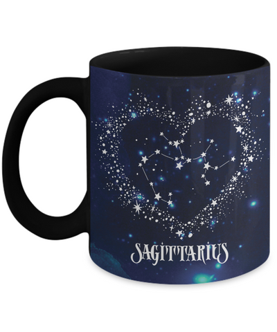 Sagittarius Zodiac Sign Black Coffee Mug