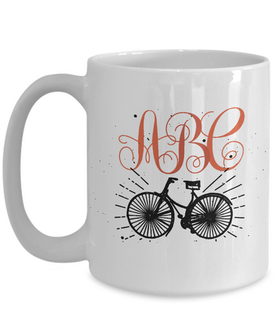 Bicycle Lover Coffee Mug Tea Cup Personalized Monogram Biking Gift Idea