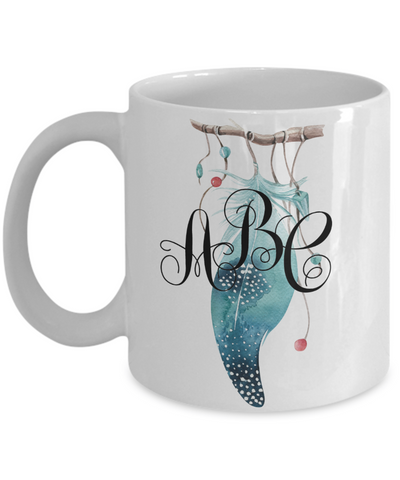 Feather Monogrammed Coffee Mug Tea Cup