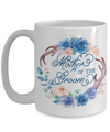 Mother Of The Groom Coffee Mug | Antlers/Wreath Flowers Blue 15oz