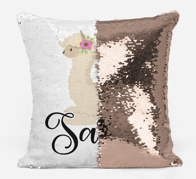 Llama Lover Gifts, Personalized Llama Gifts, Gifts for Girls, Personalized Magic Flip Sequin Pillow, Mermaid Pillow Cover, Personalized Sequin Pillow, Unique Birthday Gifts